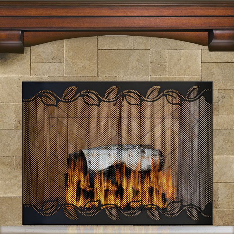 Leaf Design Recessed Firescreen