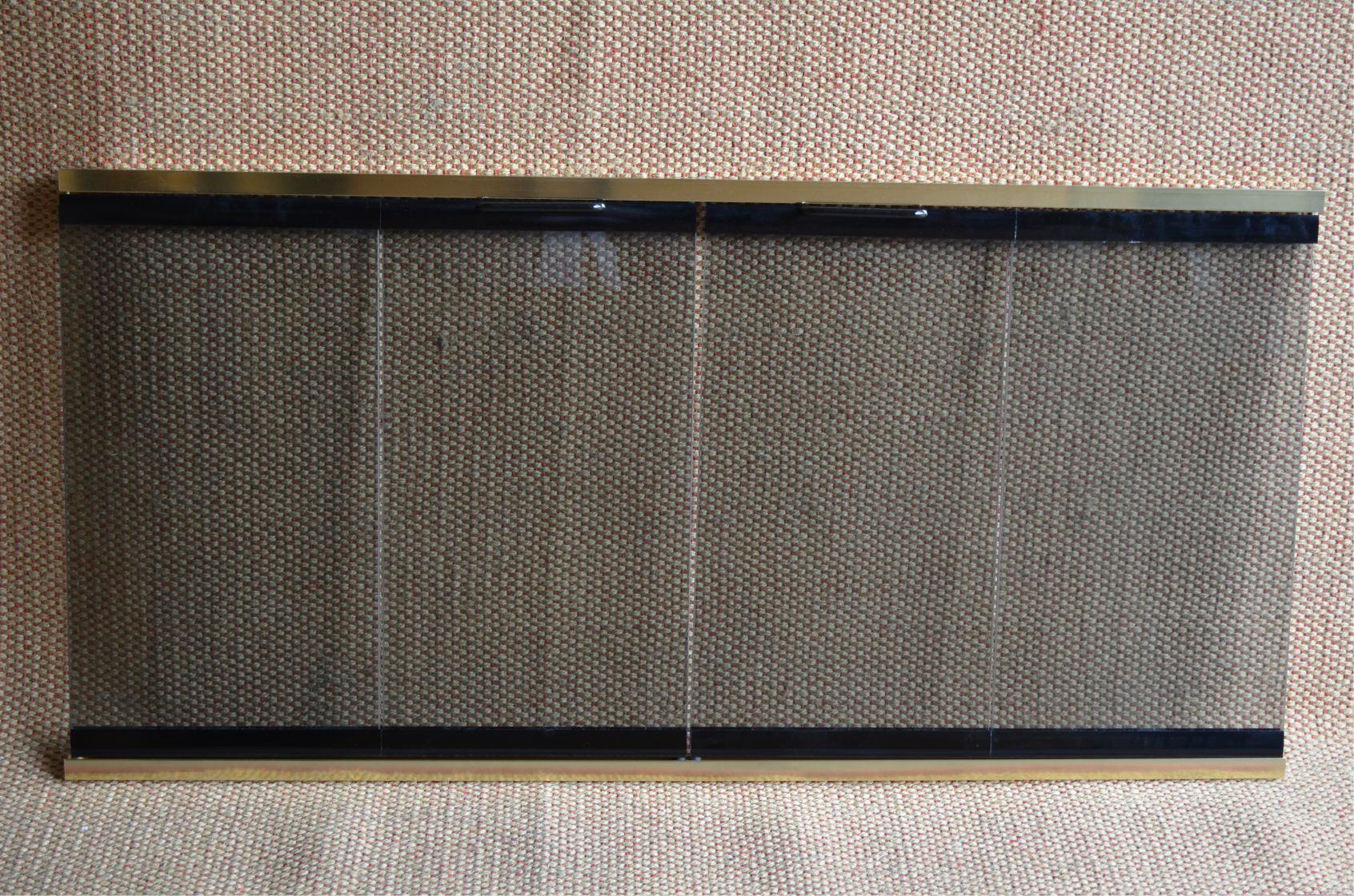 4221 Glass And Track Fireplace Door In Brass And Black