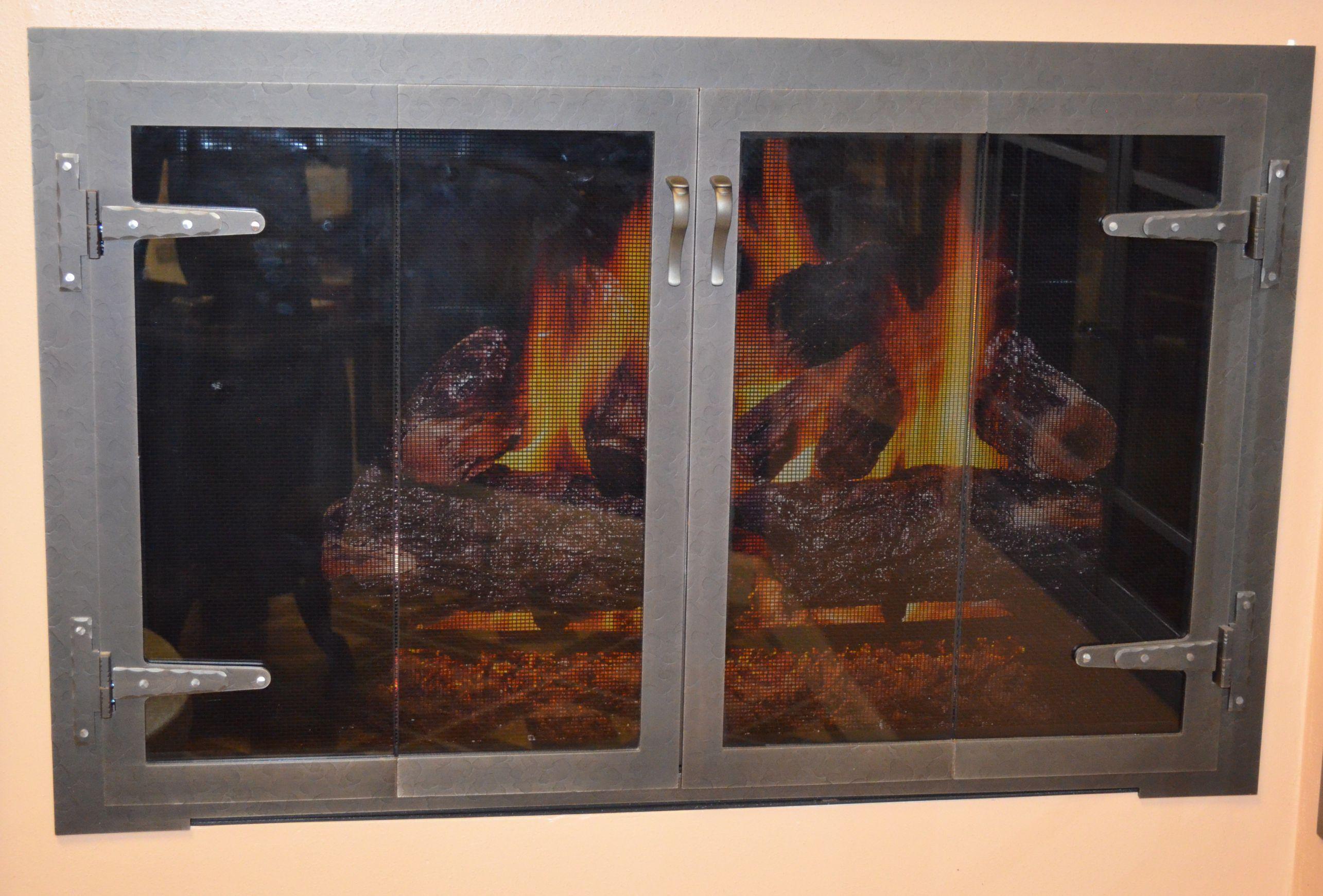 3824 Blacksmith Fireplace Door In Natural Iron