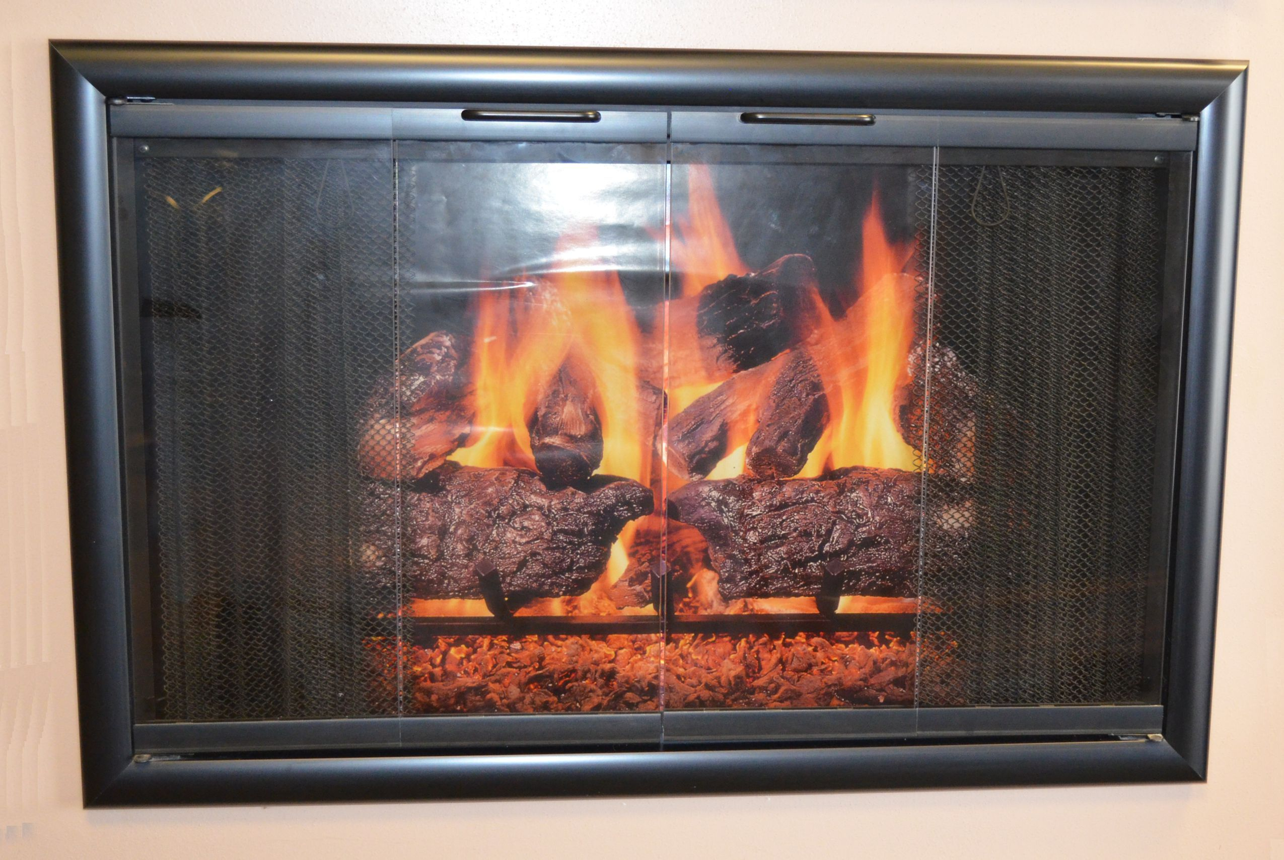 3825 Horizon Fireplace Door In Flat Black