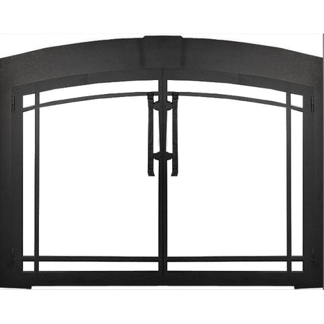 Buckingham Arch Conversion Fireplace Door in Textured Black