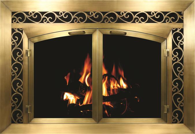 Brass Plated Sidelight Fireplace Door