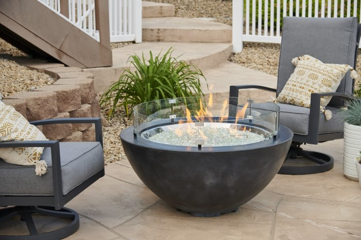 """30"""" Black Cover Gas Fire Pit"""