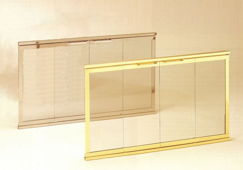 Decorator Glass & Track Doors shown in Antique Brass & Polished Brass