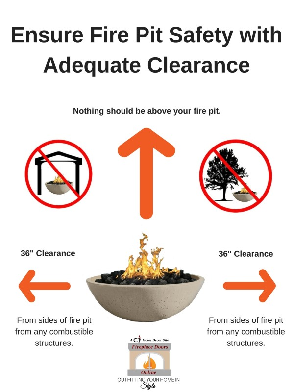 Keep a 3 foot clearance from all sides and above your fire bowl. Do not put fire bowl beneath a roof or tree.