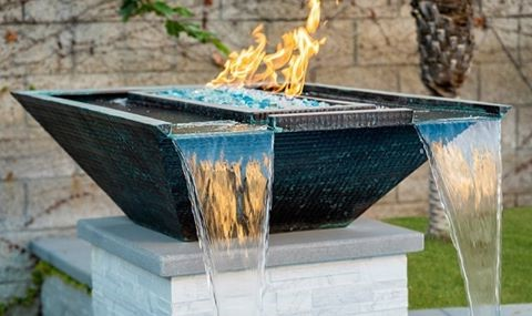 Nova Hammered Copper Fire and Water Bowl