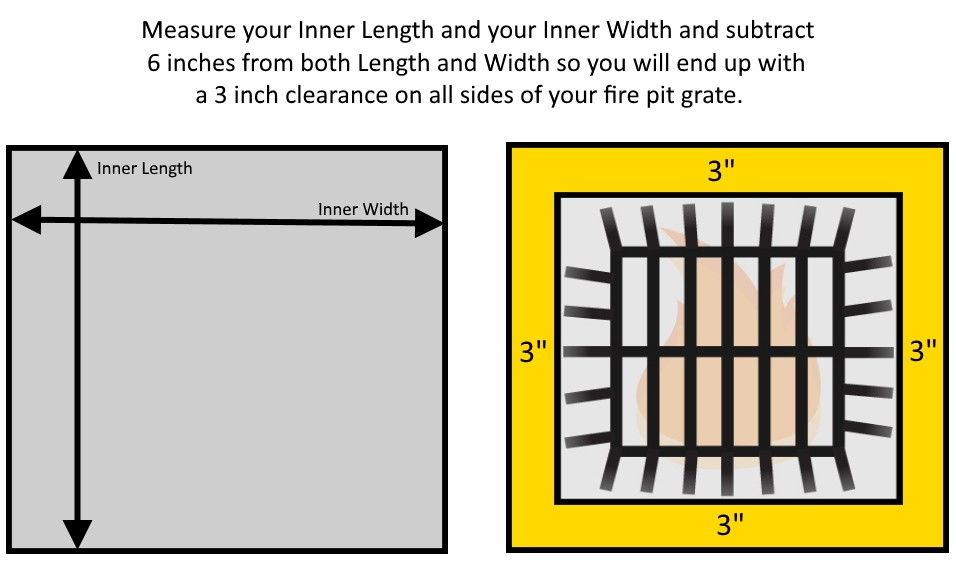 How to measure the inner dimensions of your fire pit for a four sided fire pit grate.