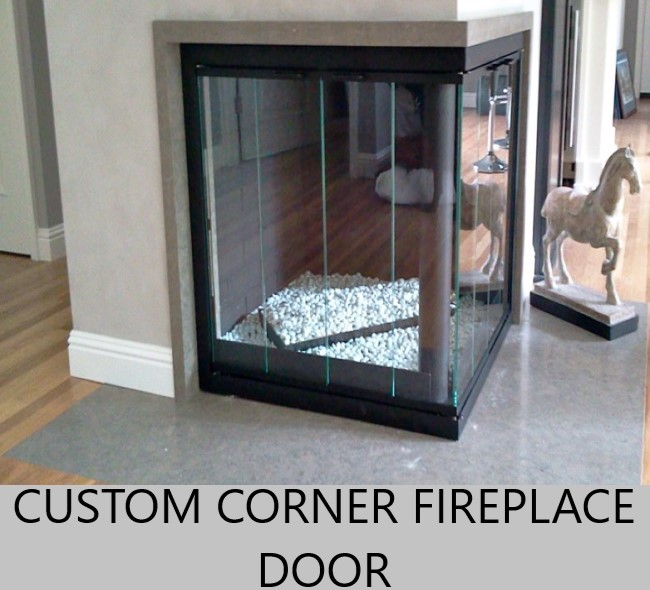 Custom Corner Fireplace Door