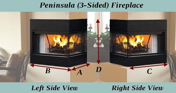 Diagram for peninsula fireplace recessed mesh measurements