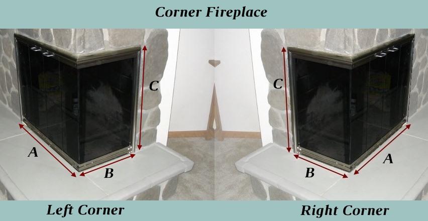 Diagram for corner fireplace recessed mesh measurements