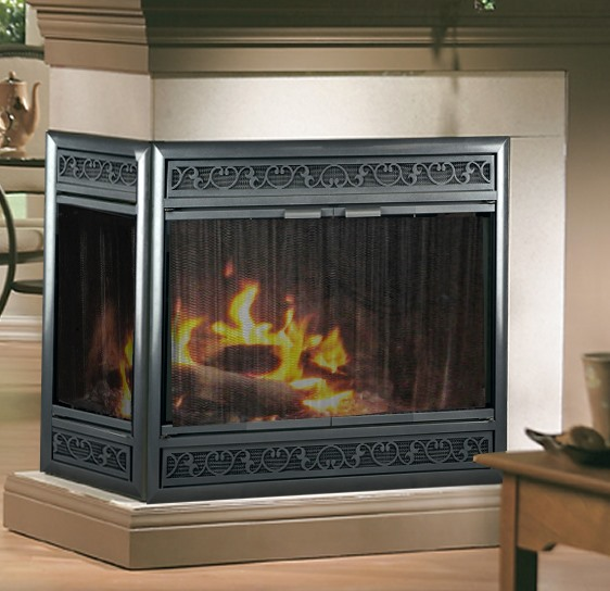 Recessed screens for peninsula (3-sided) fireplace