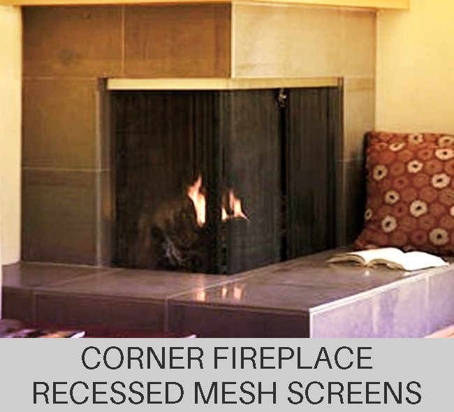Custom Recessed Corner Fireplace Mesh Curtain