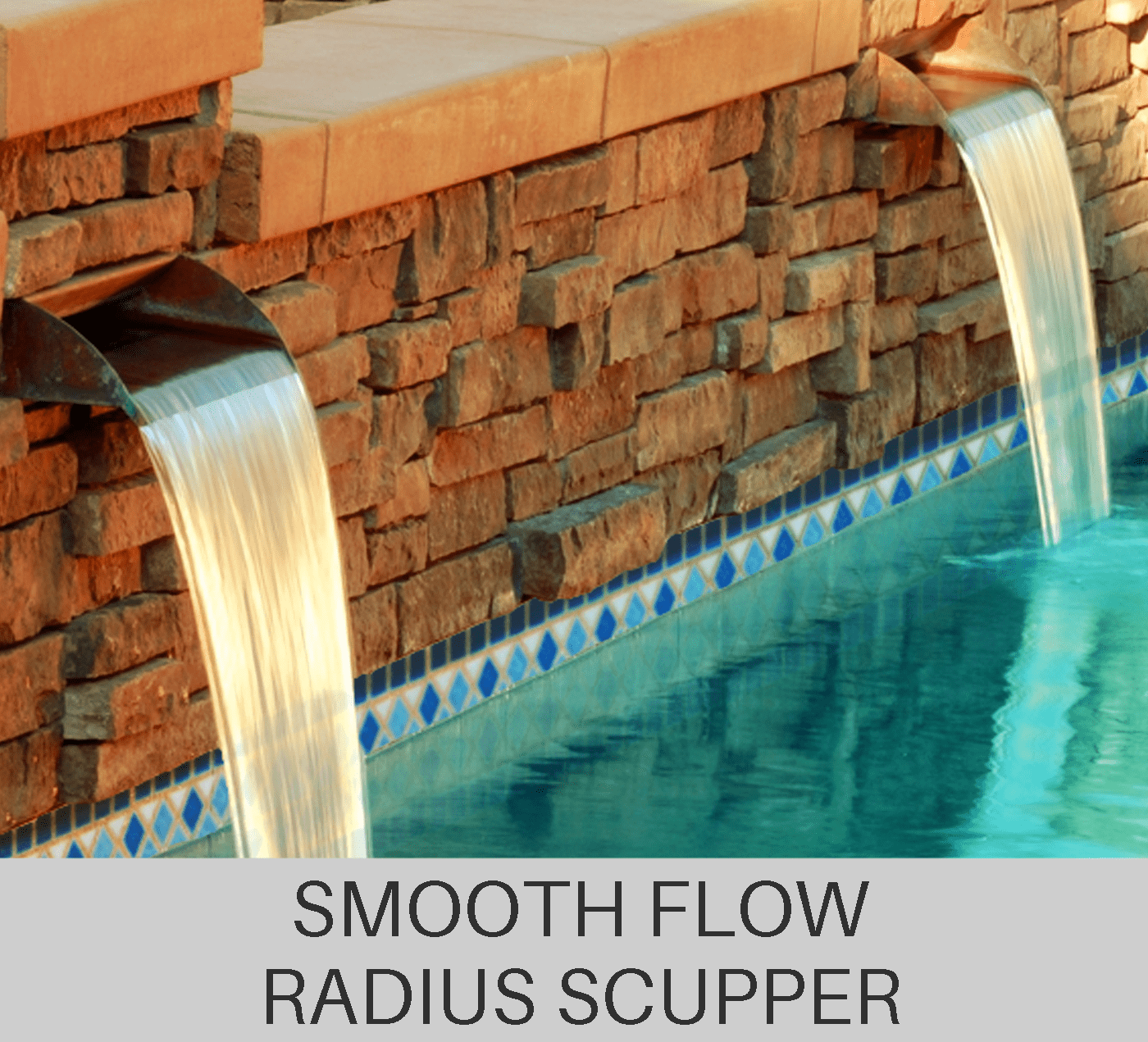 Smooth flow radius scupper
