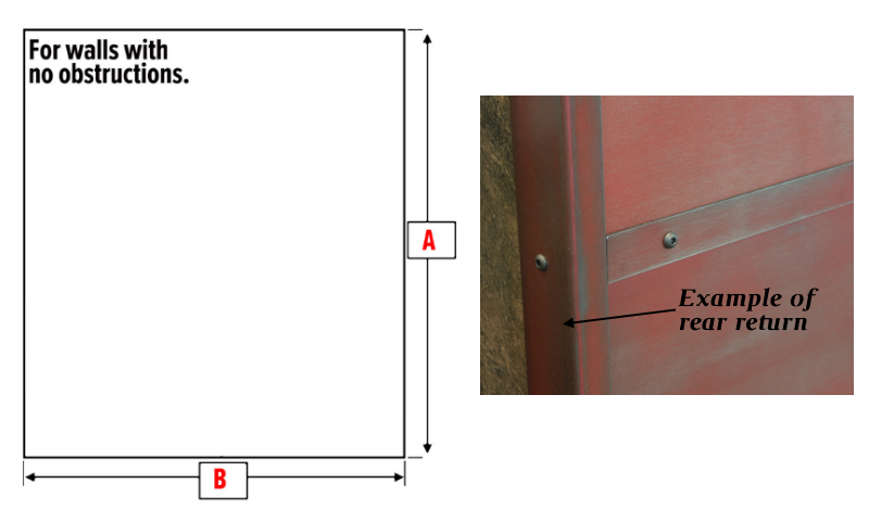 Example of measurements needed and rear return on accent wall panel