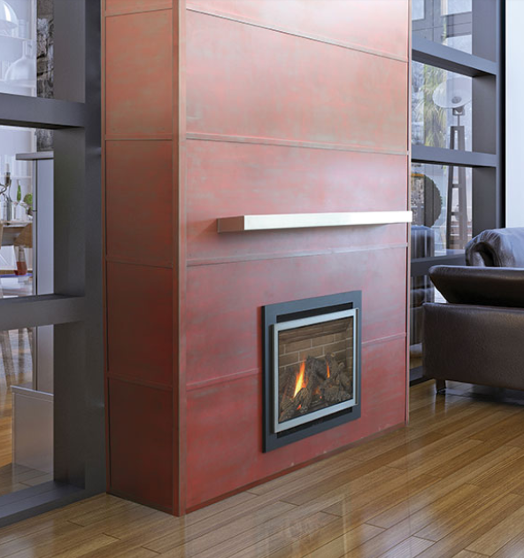 Steel accent fireplace wall panels
