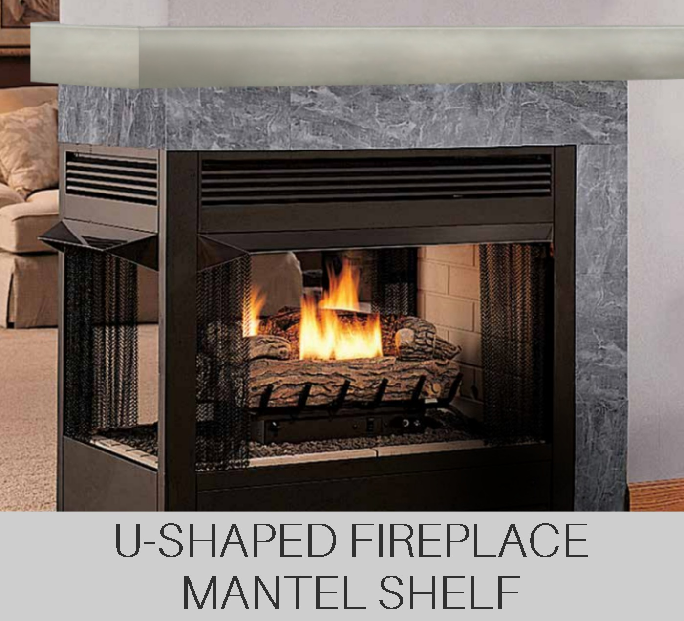 U-Shaped Fireplace Mantel Shelf