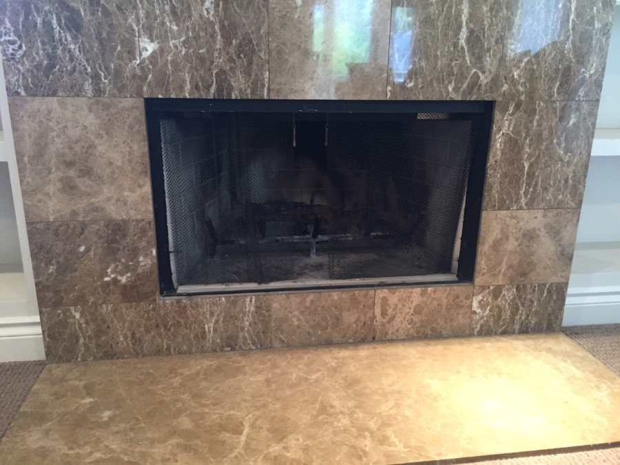 Factory built fireplace with no hearth for 4 sided overlap fit fireplace door