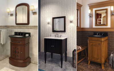 Bathroom vanities and mirrors for apartments