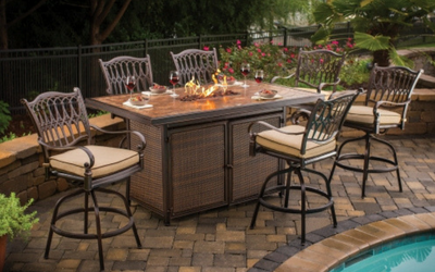 Outdoor tables and seating for apartment buildings