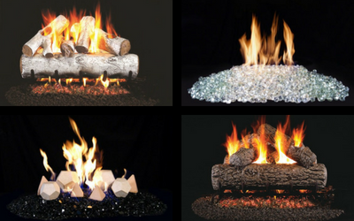 Traditional and contemporary gas log sets by Real Fyre
