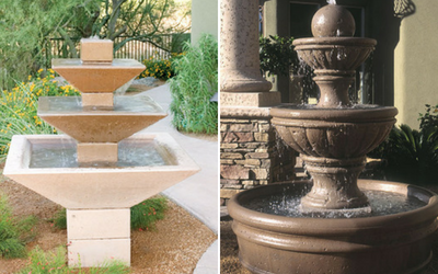 Weather resistant concrete water fountains