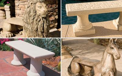Outdoor concrete benches