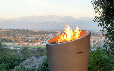 American Fyre Designs Fyre Urn overlooks a lovely valley