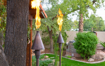 Copper tiki torches with an oil rubbed bronze finish