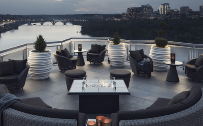Outdoor seating and a fire table overlooking the urban landscape