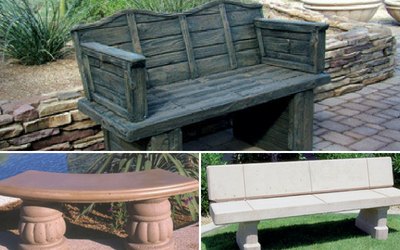 Concrete benches are available in multiple color choices