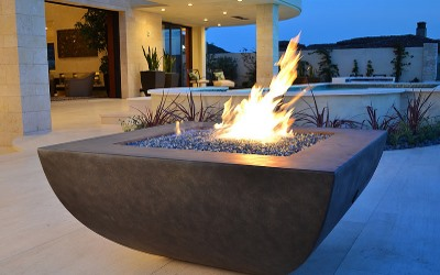 GFRC fire pits with glass and burners - custom made and eligible for international freight shipping!
