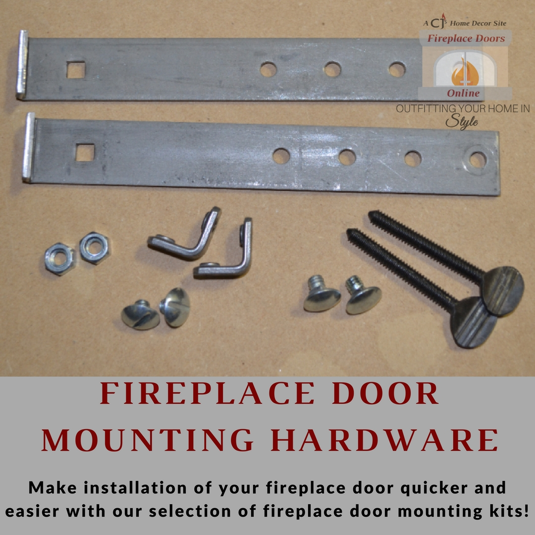 Fireplace door mounting hardware