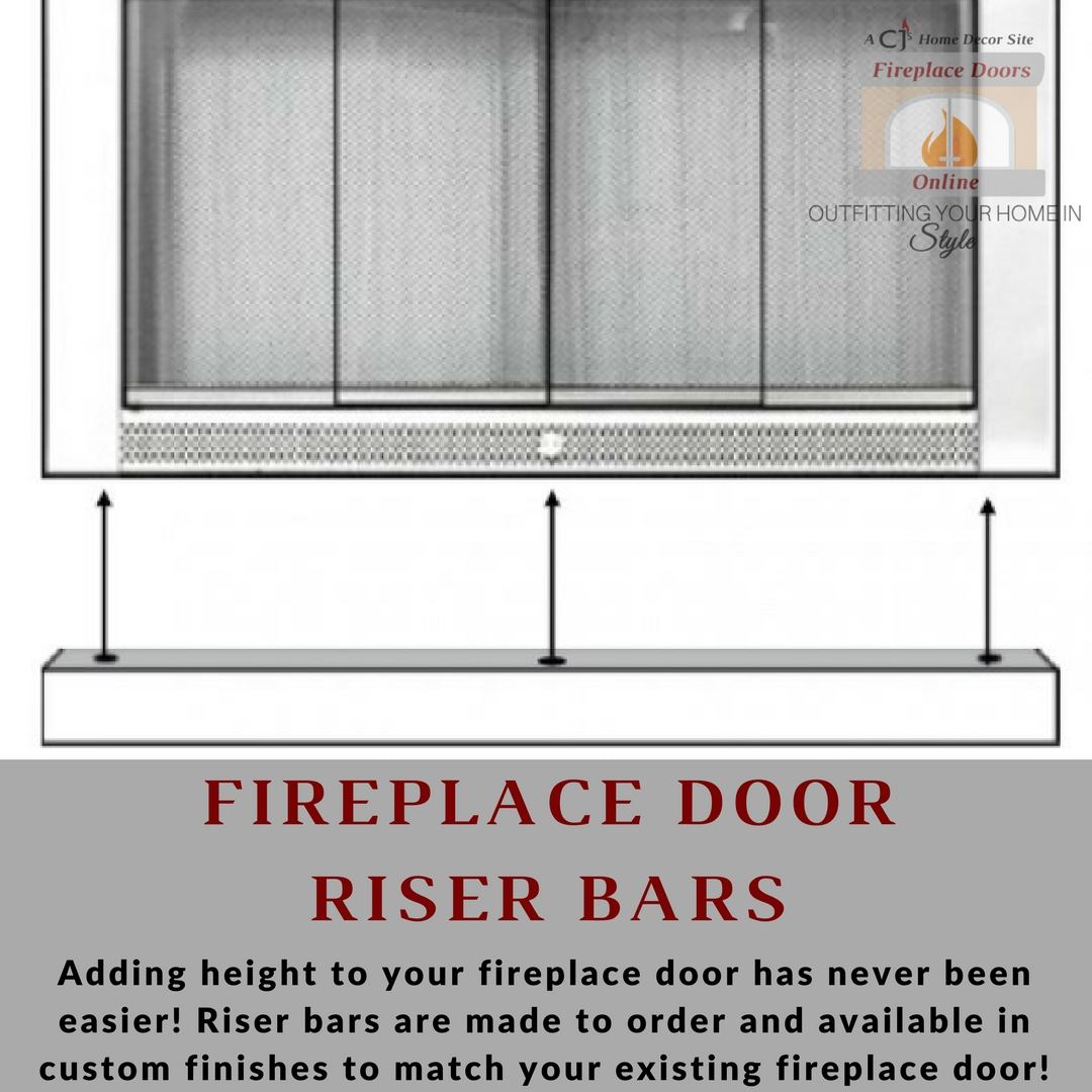 Fireplace door riser bars