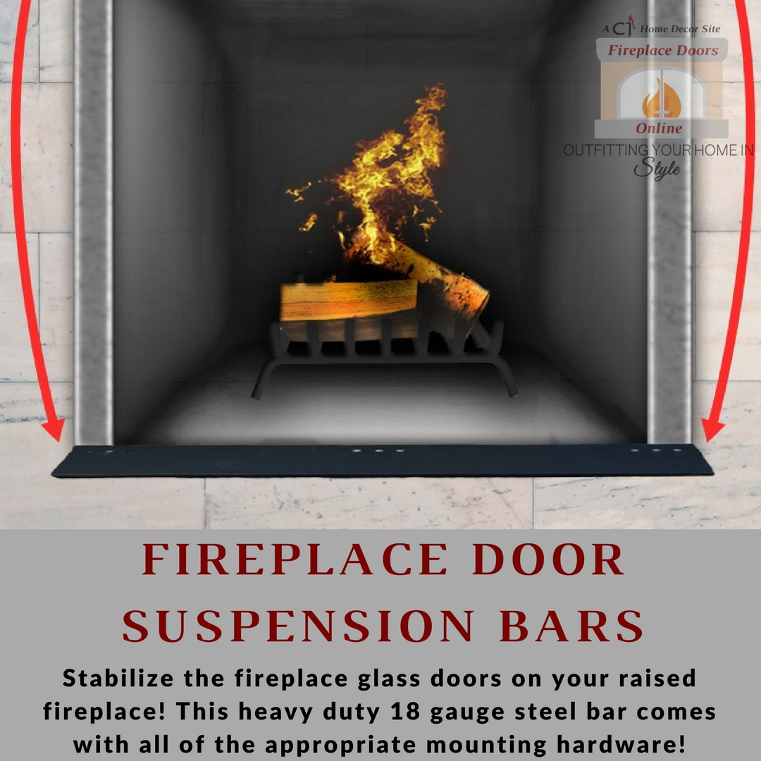 Fireplace door suspension bar