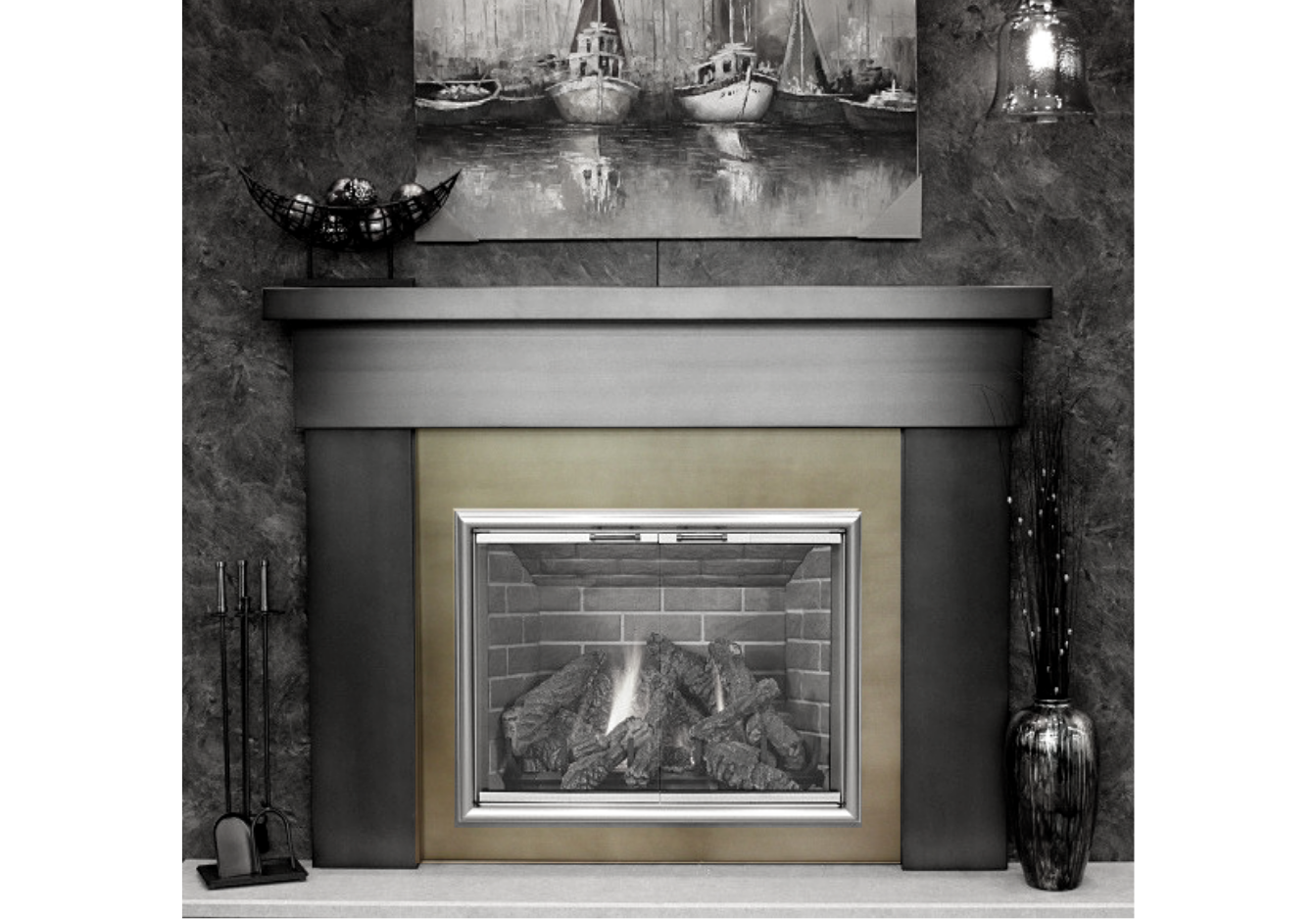 Give your masonry or factory built fireplace an instant new look with steel, fireplace surround panels.