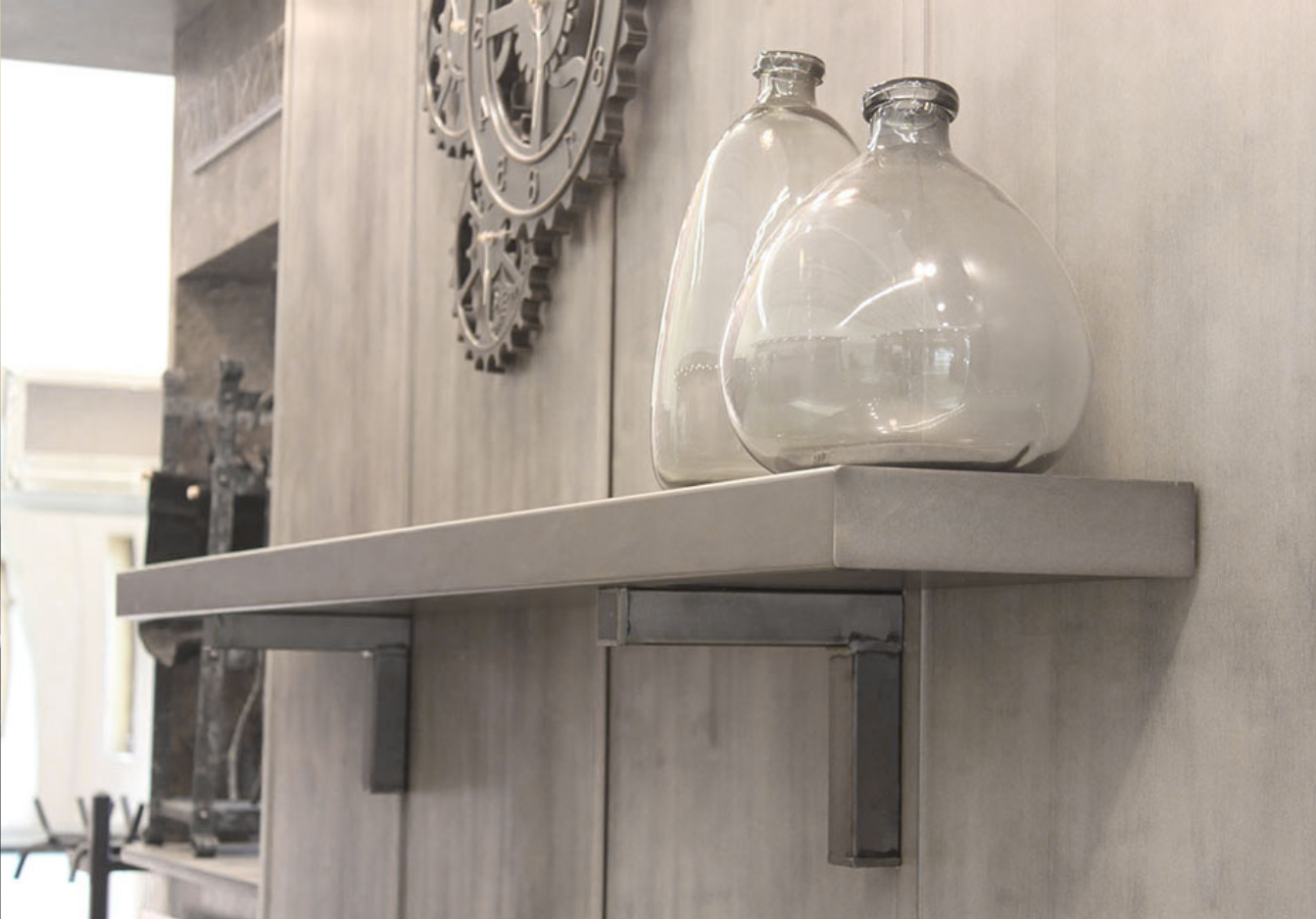 Our popular steel mantel shelves can either be installed as floating shelves or supported with matching corbels.