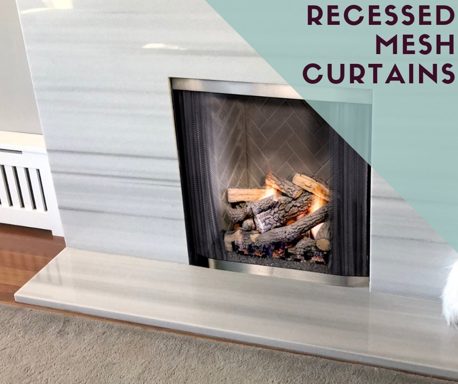 Rescessed Fireplace Mesh Curtains