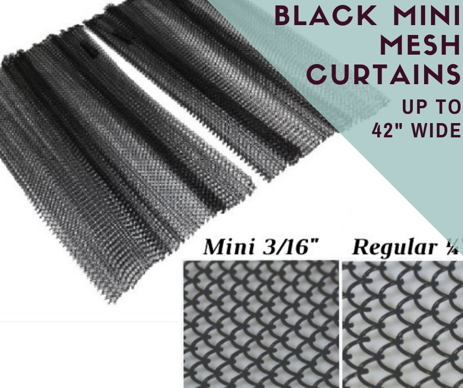 Black Mini Hanging Mesh Fireplace Curtains up to 42 inches wide
