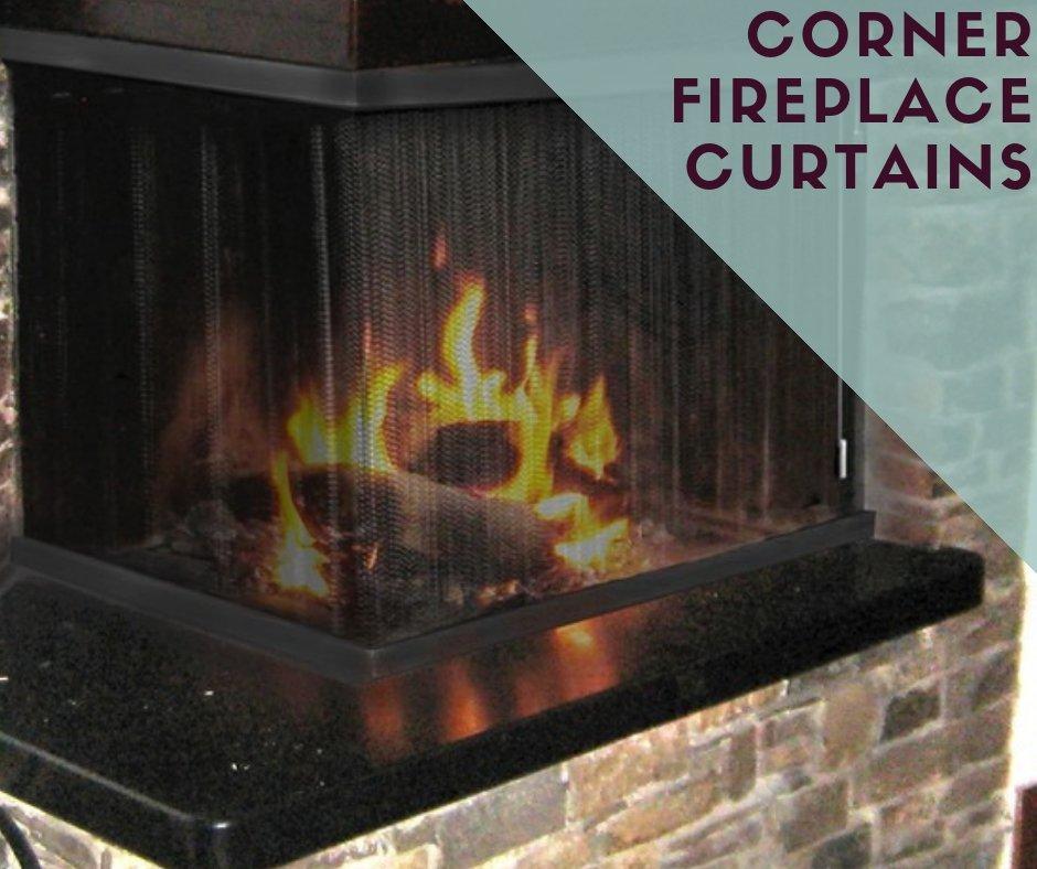 Corner Fireplace Mesh Curtains
