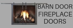 Barn door fireplace doors for masonry fireplaces