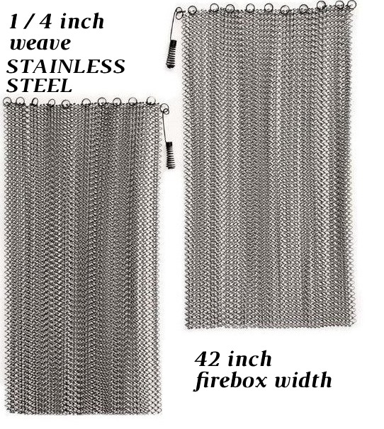 Stainless steel mesh for corner fireplaces up to 42 inches wide