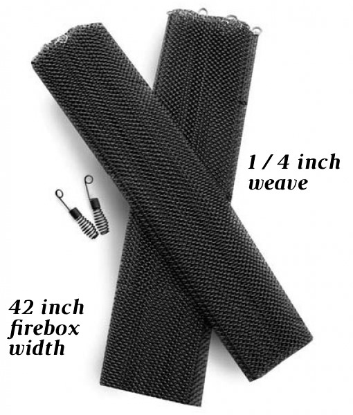 Replacement curtain mesh for corner fireplaces up to 42 inches wide