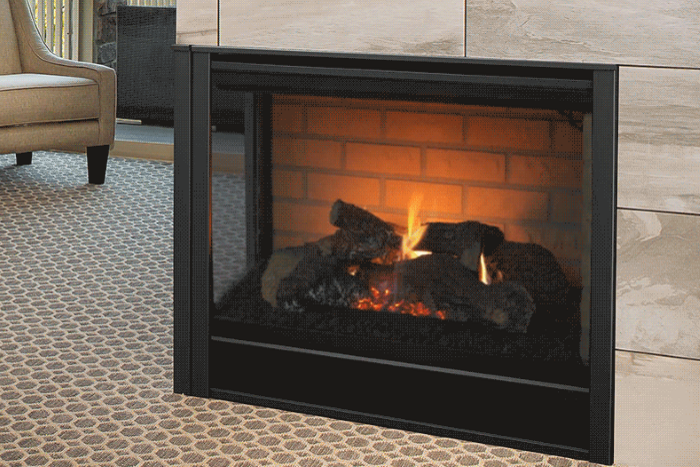 Corner prefabricated fireplace