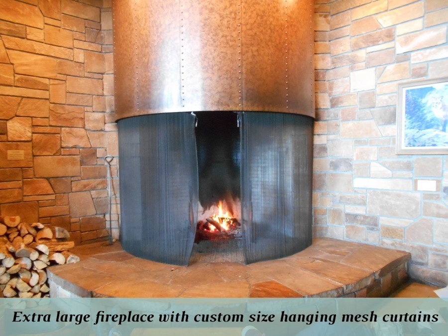 Custom fireplace mesh for extra large fireplaces
