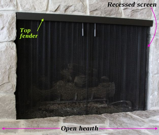 Open hearth fireplace with recessed mesh screen