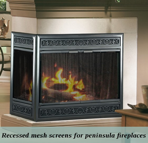 Peninsula fireplace recessed mesh