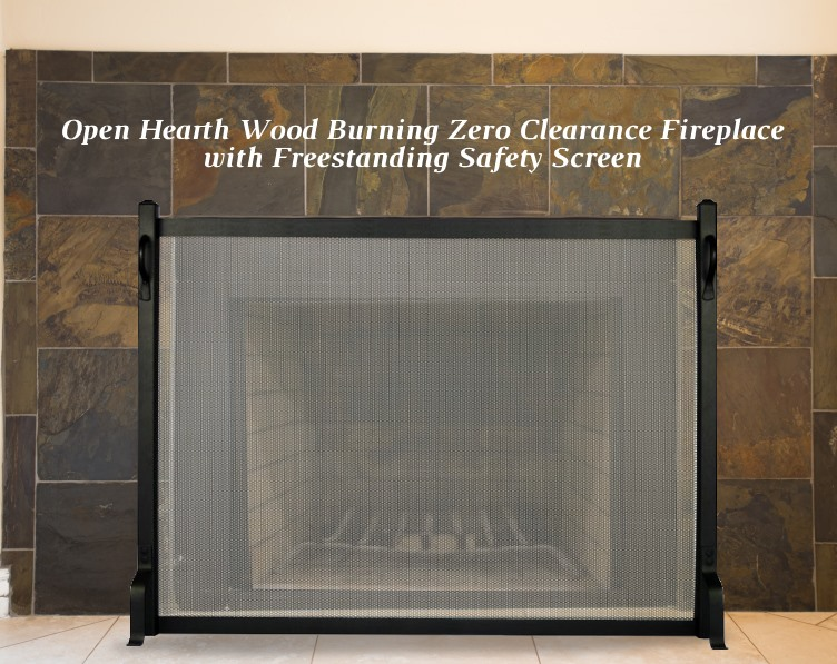 Open hearth zc fireplace with freestanding fireplace screen