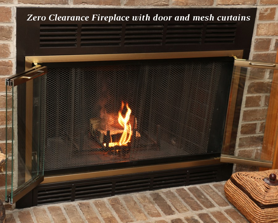 Zero clearance fireplace with door and mesh curtains