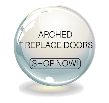 Arched masonry fireplace doors