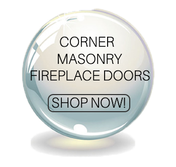 Corner masonry fireplace doors